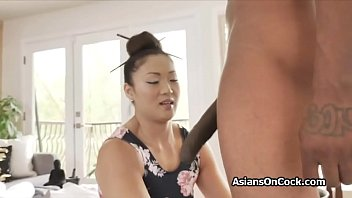 BBC massage client goes deep inside the sexy Asian masseuse
